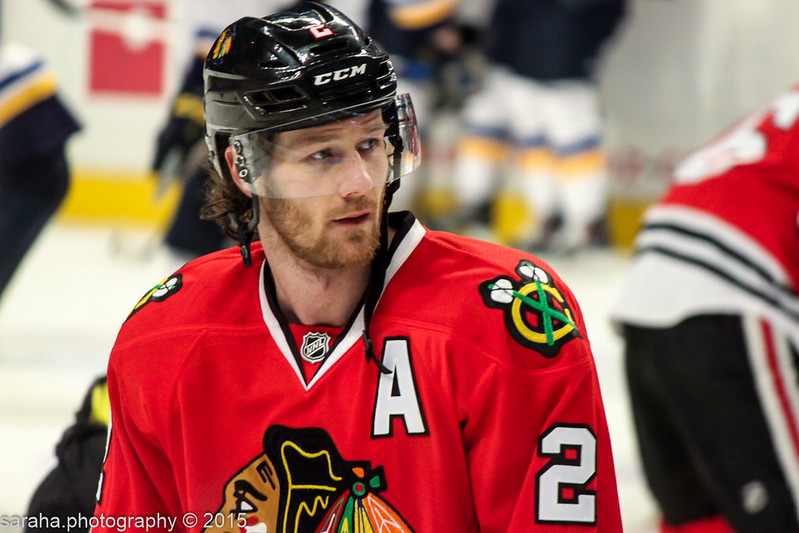 Close-up photo of Duncan Keith on ice in uniform in 2015.