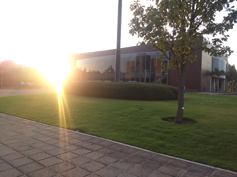 Sunrise on Campus at the Tecnológico de Monterrey in Guadalajara looking towards the conference center on April 13, 2021