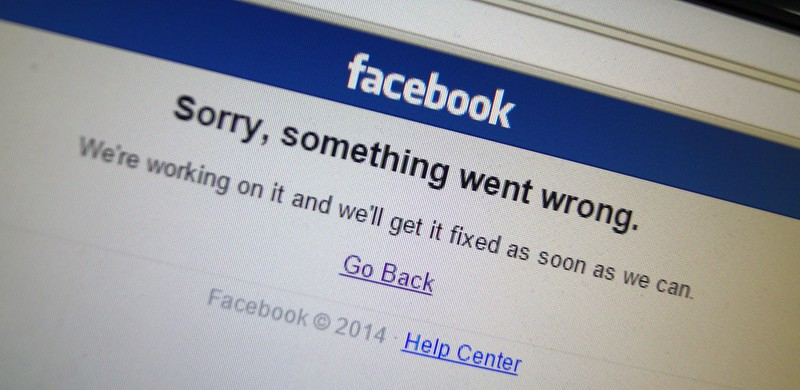 """Screenshot from 2014 of Facebook being down. """"Sorry, something went wrong. We're working on it and we'll get it fixed as soon as we can."""""""