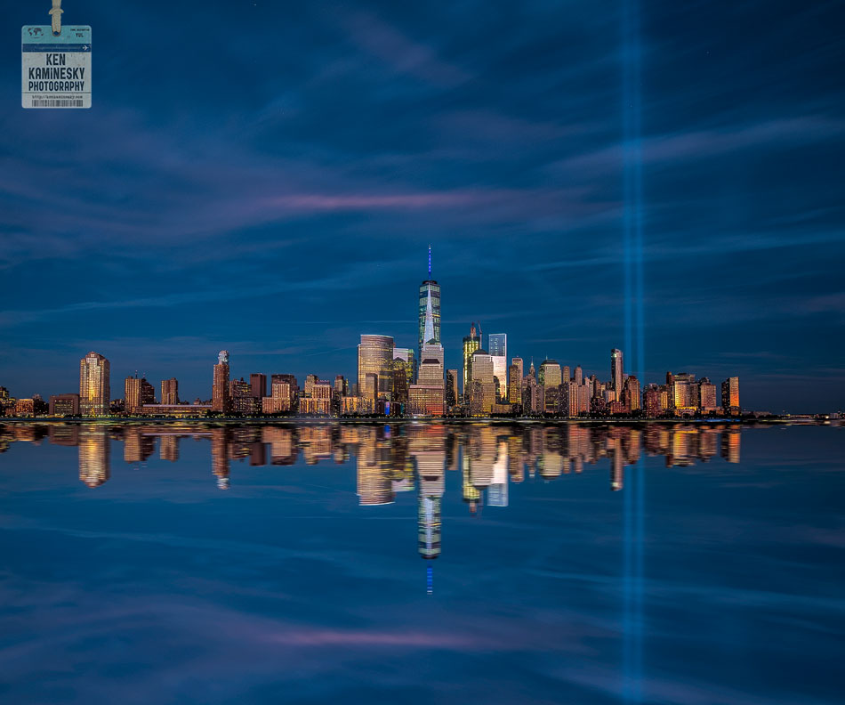 The 9/11 memorial lights in New York City