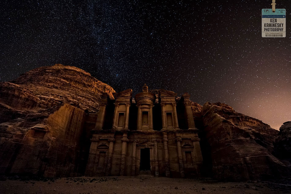 The Monastery in Petra with stars