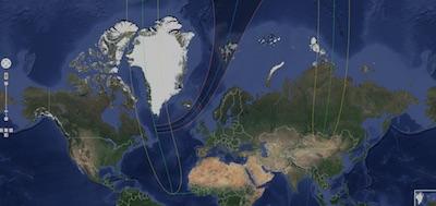 Carte de l'éclipse du 20 mars sur le site de Xavier Jubier