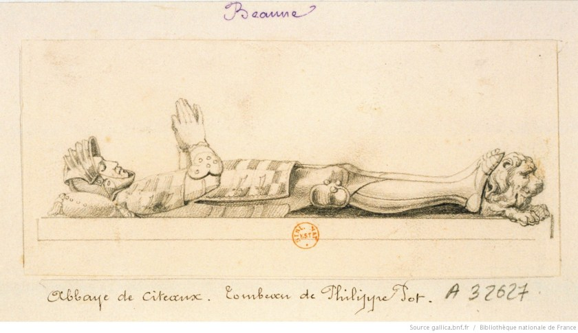 Dessin du gisant de Philippe Pot