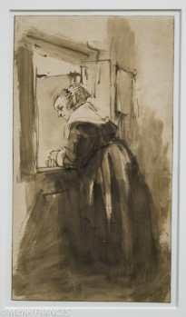 Rembrandt - Femme regardant par la fenêtre - 1653-1656 - dessin à la plume, encre brune, lavis brun
