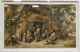 Adriaen van Ostade - Joueurs de cornemuse et de vielle devant une ferme - 1672 -Plume et encre brune, lavis gris, aquarelle et gouache sur une esquisse à la pierre noire . À la fin de sa vie, Adriaen van Ostade se spécialise dans la production d'aquarelles gouachées aux couleurs raffinées, très finies, signées et bien souvent datées. Conçues comme de véritables petits tableaux, elles étaient destinées au marché de l'art. L'artiste a maintes fois traité le thème des musiciens itinérants. Dans son œuvre tardif, il n'insiste pas sur leur caractère inquiétant mais plutôt sur la joie de ce divertissement offert aux enfants, livrant une vision tendre et pacifiée de la vie paysanne.