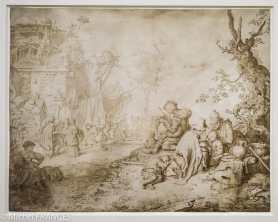 Willem de Heer - Bohémiens lors d'une fête villageoise - Plume et encre brune sur vélin En marge de la fête villageoise, une famille prend son repas aux côtés d'un joueur de cornemuse, tandis qu'à l'arrière-plan on aperçoit une diseuse de bonne aventure, un charlatan et des danseurs qui tournent autour de l'arbre de mai. Certains personnages, enveloppés d'amples capes et coiffés de chapeaux ou de fichus, sont de toute évidence des bohemiens. Willem de Heer reprend la composition gravée à l'eau-forte par son père (Fig.) dans ce dessin destiné à la vente, exécuté avec une grande minutie sur un matériau luxueux, le vélin.