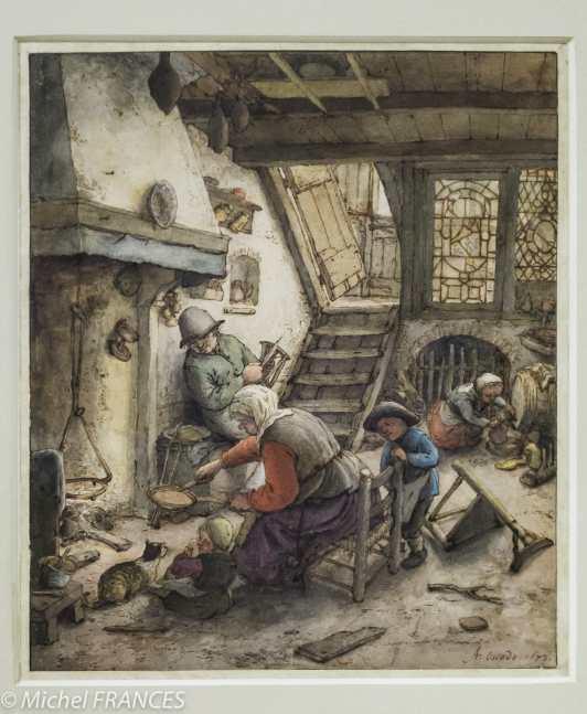 Adriaen van Ostade - Cuisine en sous-sol - 1673 - Plume et encre brune, aquarelle et gouache Cette aquarelle est la seule œuvre de l'exposition à ne pas provenir d'une collection publique française, mais de la célèbre collection Lugt. Cette scène d'intimité familiale auprès de l'âtre, la mère préparant des crêpes tandis que le père file la laine, rappelle les premières œuvres exécutées sur ce thème par Van Ostade à partir de la fin des années 1640. Cependant, l'intérieur décrit ici évoque moins une humble ferme paysanne qu'une charmante maison villageoise: dans son œuvre tardif, l'artiste offre une vision plus idyllique de la vie rurale.
