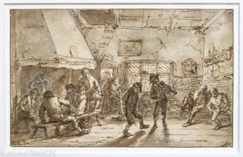 ISAAC VAN OSTADE - Scene de cabaret : ménétrier faisant danser un paysan - vers 1644 - Plume et encre brune, lavis brun et gris sur une esquisse à la pierre noire. Isaac van Ostade puise dans le répertoire de son frère aîné Adriaen des scènes d'auberqe, où des paysans dansent et s'adonnent à la boisson, au tabac et au jeu. Il rivalise avec lui dans la description de ces intérieurs décorés de vaisselle, de paniers, d'outils, mais aussi de tableaux, lesquels étaient désormais accessibles aux. paysans les plus fortunés. Le remarquable effet de contre-jour est obtenu au moyen de larges plages de lavis brun, caractéristiques de la manière plus picturale d'Isaac van Ostade.