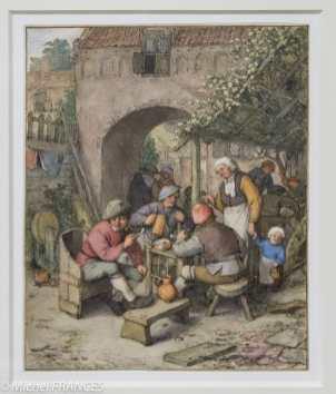 ADRIAEN VAN OSTADE - Une cour d'auberge - 1674 - Plume et encre noire, aquarelle et gouache Cette aquarelle est caractéristique de la production tardive d'Adriaen van Ostade, qui tend à idéaliser la vie rurale. Certes, les paysans s'adonnent toujours aux mêmes vices, qui déforment leurs traits au point de devenir caricaturaux : les nez bulbeux étaient associés, dans les traités de physiognomonie de l'époque, à l'excès d'alcool et de tabac. Mais les scènes crues et agitées des débuts, contenues dans des intérieurs exiqus, ont cédé la place à de paisibles assemblées qui goûtent à l'extérieur une certaine douceur de vivre.