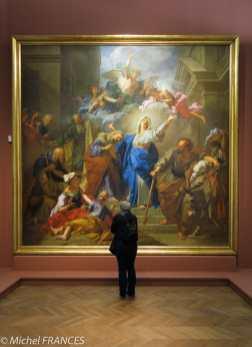 La Visitation de la Vierge (1716), signé J. Jouvenet Dextra paralyticus Sinistra pinxit, J. Jouvenet paralysé de la main droite, a peint ce tableau de la main gauche