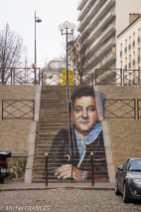 Zag & Sia - Coluche (je crois que l'escalier est dans le 14ème, mais j'ai pris la photo depuis le 13ème!)