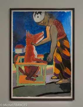 Orangerie - expo Paula Rego - sans titre, série La jeune fille et le chien - 1986