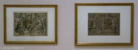expo Gravure en clair-obscur - Joos Gietleughen d'après Frans Floris - David jouant de la harpe devant le roi Soleil