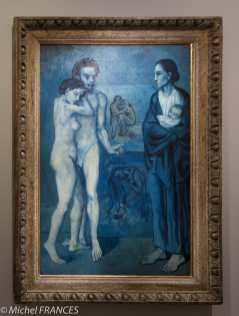 musée d'Orsay, exposition Picasso rose et bleu - La vie - printemps 1903 - allégorie du cycle de la vie - l'homme porte les traits de son ami Carles Casamegas qui s'est suicidé par dépit amoureux