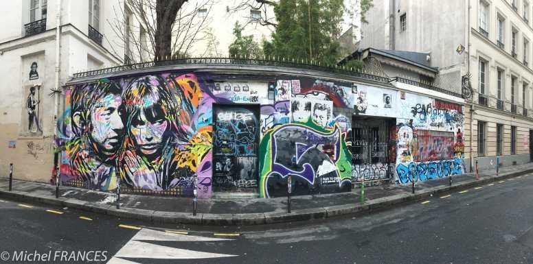 Le mur tangué de la maison de Gainsbarre, rue Verneuil