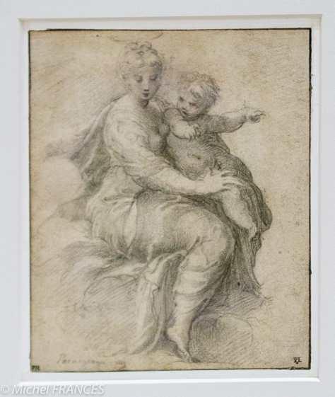 Fondation Custodia - expo 500 dessins musée Pouchkine - Parmigianino - Vierge à l'Enfant dans les nuées - vers 1526 - verso Portrait d'un chevalier de l'Ordre de Malte - 1526-1527