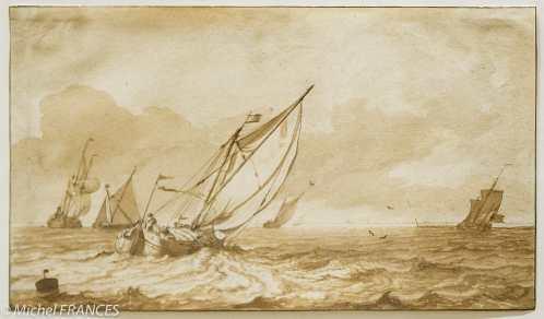 Fondation Custodia - expo 500 dessins musée Pouchkine - Ludolf Bakhuisen - Paysage maritime avec des voiliers - fin des années 1670