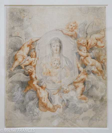 Fondation Custodia - expo 500 dessins musée Pouchkine - Pierre-Paul Rubens - Étude pour l Madonna della Vallicella - 1608