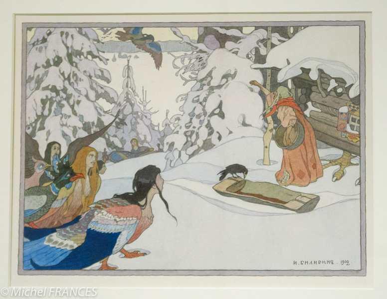 Fondation Custodia - expo 500 dessins musée Pouchkine - Ivan Bilibine - Baba-Yaga et les femmes-oiseaux - 1902