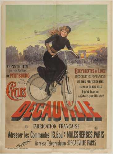 Titre(s) Construits par les ateliers de Petit Bourg près Paris, Cycles Decauville. Bicycletttes de luxe, bicyclettes populaires... fabrication française... : [affiche] / [F. Hugo d'Alesi] Auteur(s) Hugo d'Alési, F. (1849-1906) [Illustrateur] Autre(s) auteur(s) Ateliers Hugo d'Alési [Concepteur] Imprimerie A. Bellier & Cie [Imprimeur] Editeur(s), Imprimeur(s) Paris (4 place Monge) : Atelier Hugo d'Alesi, DL 1893 (Paris) (Bordeaux) : imp. A. Bellier & Cie Description 1 est. (affiche) : lithogr., en coul. ; 130 x 98 cm Note(s) générale(s) Citée dans : Catalogue de l'exposition d'affiches artistiques. Reims, 1896. n° 117. Note(s) spécifique(s) Mention de l' atelier en bas à droite Sujet(s) Decauville -- Publicité Bicyclettes -- Publicité -- 1870-1914 Paris (France) -- Avenue Foch -- Affiches Mot(s)-clé(s) Decauville bicyclettes Paris (France) avenue Foch Cote de l'exemplaire numérisé AF 45370 GF Date de mise en ligne 16/05/2017 Droits d'accès Consultable sans restrictions Droits domaine public Source Ville de Paris / Bibl. Forney / Roger-Viollet