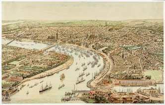 estampe : vue de Bordeaux - Musée des beaux arts de Bordeaux -Hugo d'Alesi - 1899