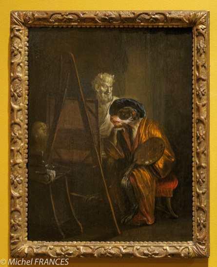 MAD - expo Drôles de petites bêtes d'Antoon Krings - Jean-Antoine Watteau - Le singe peintre - 18ème