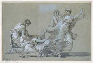 Musée Cognacq-Jay - Génération en Révolution - Jean-François-Pierre Peyron - Étude pour Les jeunes Athéniens et les jeunes Athéniennes tirant au sort pour être livrés au Minotaure - vers 1778