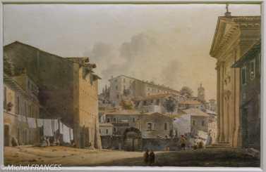 Musée Cognacq-Jay - Génération en Révolution - Victor-Jean Nicolle - Vue de l'église Sant'Eligio dei Ferrari à Rome - entre 1787 et 1811