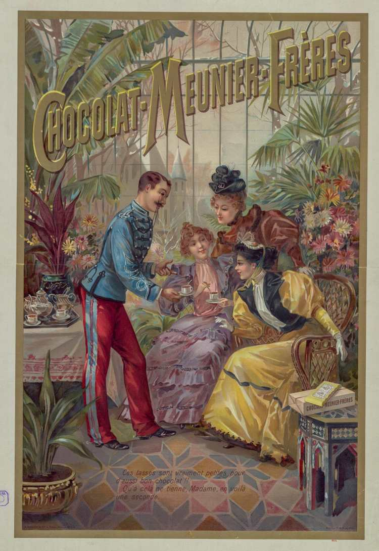 Titre :      Chocolat-Meunier-Frères : [affiche] / Atelier H. d'Alési  Auteur :      Hugo d'Alési, F. (1849-1906). Illustrateur  Auteur :      Ateliers Hugo d'Alési. Auteur ou responsable intellectuel  Éditeur :      [s.n.][s.n.]  Éditeur :      Imp. A. Bellier et Cie, 4 place Monge (Paris)  Date d'édition :      1894  Sujet :      Chocolat  Sujet :      Alimentation  Type :      image fixe  Type :      estampe  Langue :      français  Format :      1 est. : lithographie, en coul. ; 66 x 46 cm  Format :      image/jpeg  Format :      Nombre total de vues : 1  Description :      Affiche  Droits :      domaine public  Identifiant :      ark:/12148/btv1b53127896z  Source :      Bibliothèque nationale de France, FT 6-ENT DN-1 (HUDO d''ALESI /3)  Notice du catalogue :      http://catalogue.bnf.fr/ark:/12148/cb43794832r  Provenance :      Bibliothèque nationale de France  Date de mise en ligne :      29/08/2016