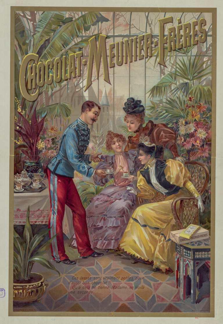 Titre :      Chocolat-Meunier-Frères : [affiche] / Atelier H. d'Alési  Auteur :      Hugo d'Alési, F. (1849-1906). Illustrateur  Auteur :      Ateliers Hugo d'Alési. Auteur ou responsable intellectuel  Éditeur :      [s.n.][s.n.]  Éditeur :      Imp. A. Bellier et Cie, 4 place Monge (Paris)  Date d'édition :      1894  Sujet :      Chocolat  Sujet :      Alimentation  Type :      image fixe  Type :      estampe  Langue :      français  Format :      1 est. : lithographie, en coul. ; 66 x 46 cm  Format :      image/jpeg  Format :      Nombre total de vues : 1  Description :      Affiche  Droits :      domaine public  Identifiant :      ark:/12148/btv1b53127896z  Source :      Bibliothèque nationale de France, FT 6-ENT DN-1 (HUDO d''ALESI /3)  Notice du catalogue :      http://catalogue.bnf.fr/ark:/12148/cb43794832r  Provenance :      Bibliothèque nationale de France  Date de mise en ligne :      29/08/2016