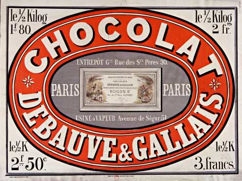 Titre : Chocolat Debauve & Gallais... : [affiche] / [non identifié] Éditeur : [s.n.][s.n.] Éditeur : [L. Mielle imp] ([Paris]) Date d'édition : 1870 Sujet : Alimentation Type : image fixe Type : estampe Langue : français Format : 1 est. : lithogr. en coul. ; 61 x 83 cm Format : image/jpeg Format : Nombre total de vues : 1 Description : Affiche Droits : domaine public Identifiant : ark:/12148/btv1b9014431r Source : Bibliothèque nationale de France, département Estampes et photographie, ENT DN-1 (MIELLE)-FT6 Notice du catalogue : http://catalogue.bnf.fr/ark:/12148/cb39839747c Provenance : Bibliothèque nationale de France Date de mise en ligne : 09/05/2011