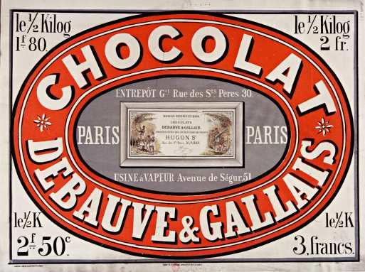 Titre : Chocolat Debauve & Gallais... : [affiche] / [non identifié] Éditeur : [s.n.][s.n.] Éditeur : [L. Mielle imp] ([Paris]) Date d'édition : 1870 Sujet : Alimentation Type : image fixe Type : estampe Langue : français Format : 1 est. : lithogr. en coul. ; 61 x 83 cm Format : image/jpeg Format : Nombre total de vues : 1 Description : Affiche Droits : domaine public Identifiant : ark:/12148/btv1b9014431r Source : Bibliothèque nationale de France, département Estampes et photographie, ENT DN-1 (MIELLE)-FT6 Notice du catalogue : http://catalogue.bnf.fr/ark:/12148/cb39839747c Provenance : Bibliothèque nationale de France Date de mise en ligne : 09/05/2011
