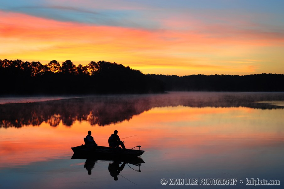 Couple fishing on reservoir outside Griffin, GA.