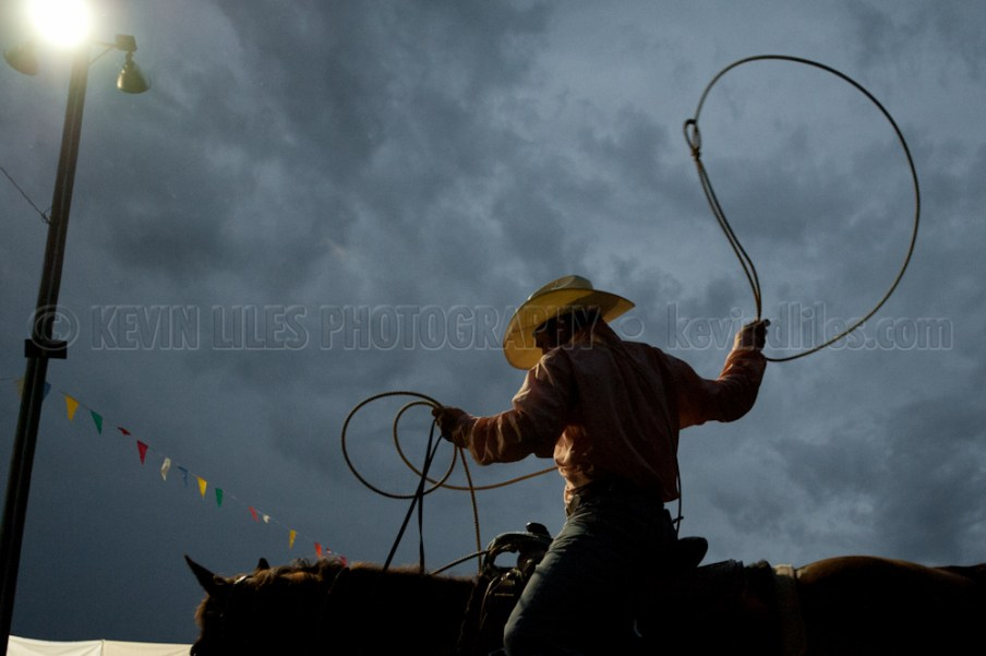 Roping team member practices at the Shady Dale Rodeo.