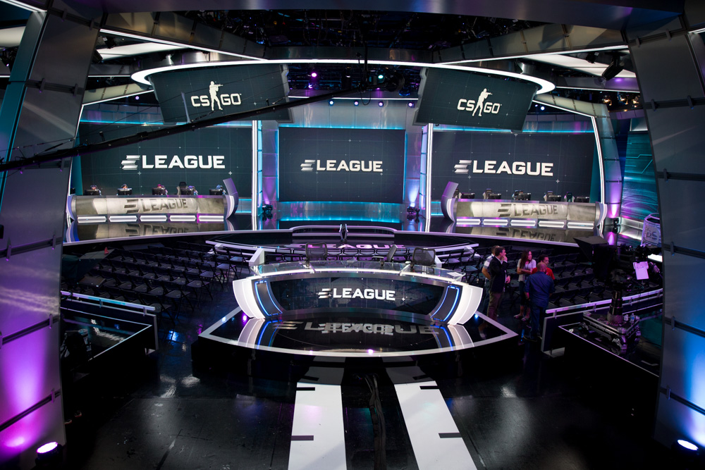 General view of the studio built for ELeague, complete with a moving commentator desk, at Turner Studios in Atlanta.