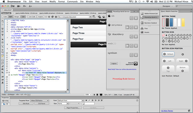 how to build a mobile app in dreamweaver