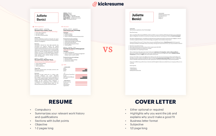 Cover Letter Vs Resume Differences Comparison Examples