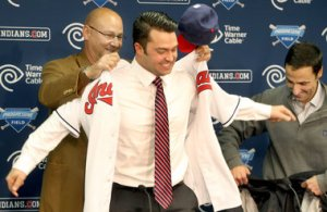 Nick Swisher In His Indians Jersey