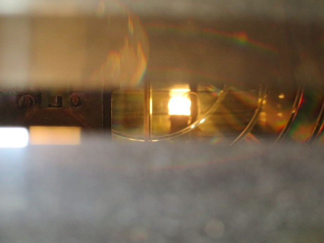 A view of the flame between the lenses