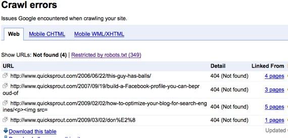 google webmaster tools crawl errors