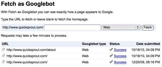 google webmaster tools fetch as Googlebot