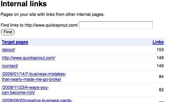 Google Webmaster Tools Internal Links