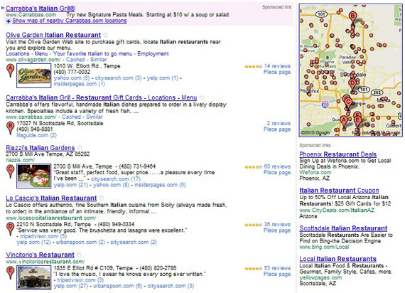 Google Places Reviews in Local Search Results