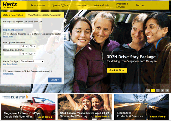 Hertz rent a car website viewed from Singapore