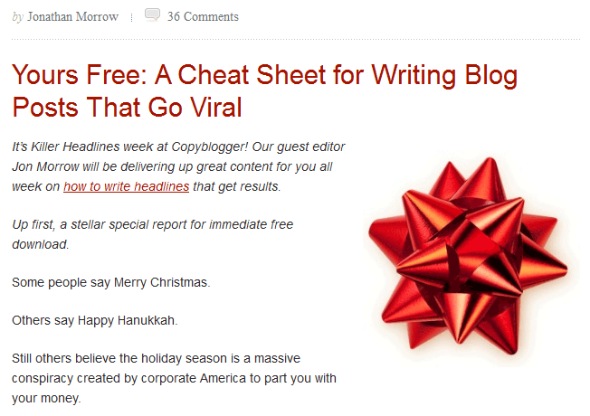Copyblogger.com Great Content Example