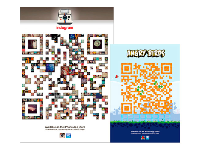 instagram angrybirds qr codes