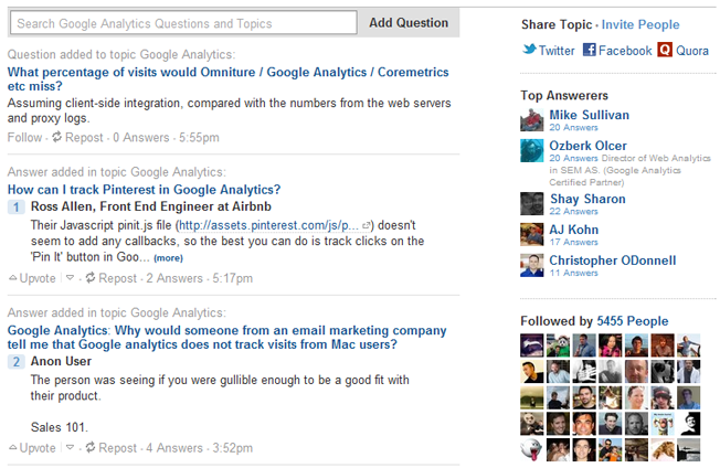 quora topic page bottom half