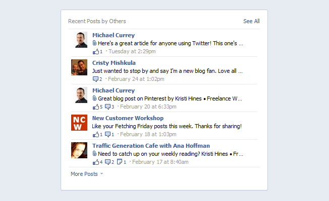 new facebook pages recent posts by others