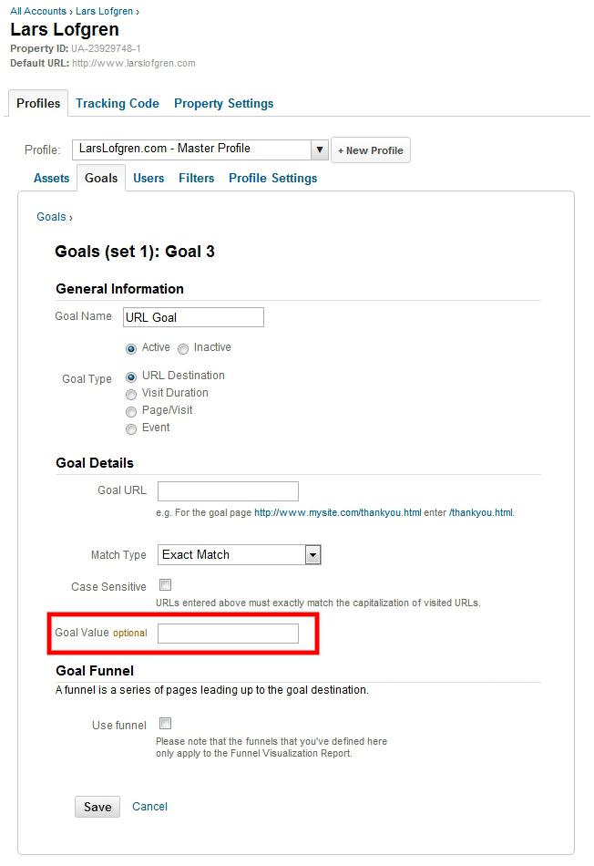 Google Analytics Goal Values URL