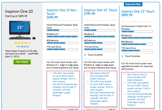 14 dell pricing page